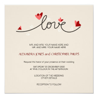 In Love Simple Elegant Text Wedding Invitations