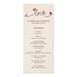 In Love Simple Elegant Text Wedding Program