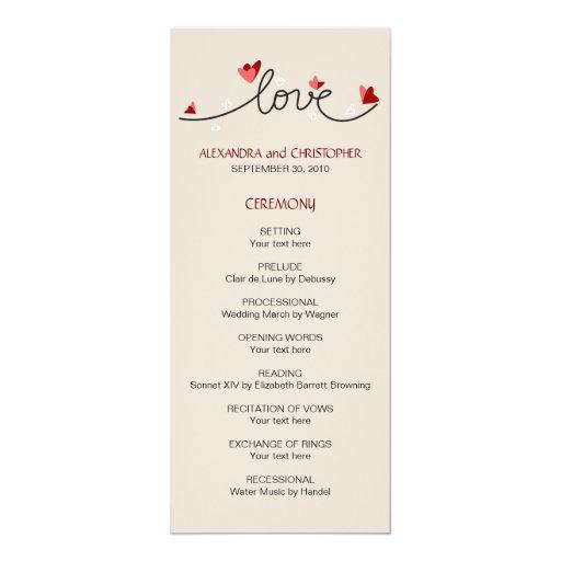 In Love Simple Elegant Text Wedding Program 4x9.25 Paper Invitation Card