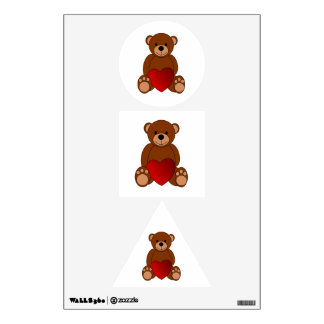 In love teddy bear cartoon wall graphic