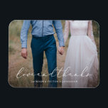 """In Love Thank You Magnet<br><div class=""""desc"""">Gift your guests with a Save the Date Magnet to showcase on the refrigerator leading up to your big day!    All photography is displayed as a sample only and is not for resale. This product is only intended to be purchased once sample photos are replaced with your own images.</div>"""