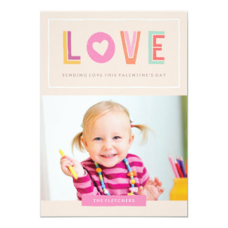 "In Love Valentine's Day Card - Peach 5"" X 7"" Invitation Card"