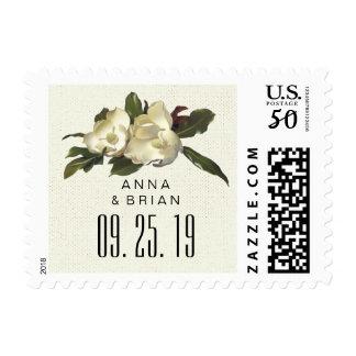 In Love - Vintage Magnolia Floral Wedding Custom Postage