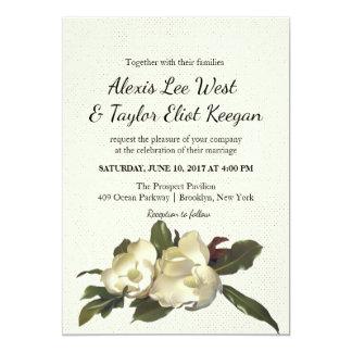 In Love - Vintage Magnolia Flowers Floral Wedding Card