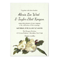 In Love - Vintage Magnolia Grandiflora Wedding Invitation