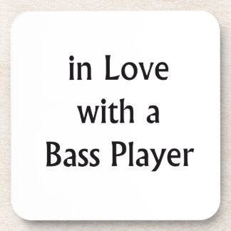 In Love With A Bass Player Black Text Drink Coaster