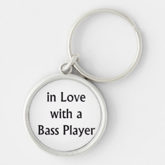 In Love With A Bass Player Black Text Keychain