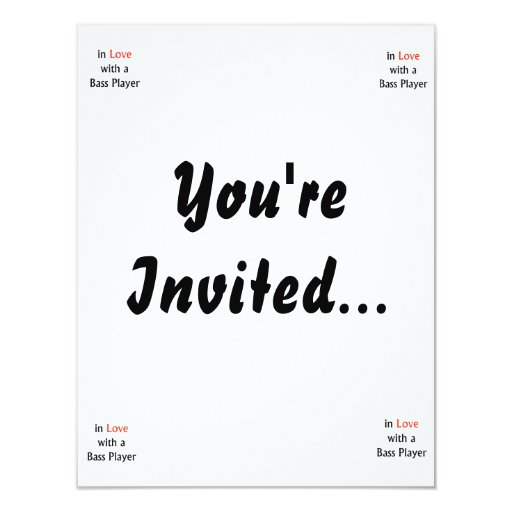 In Love With A Bass Player Red n Black Text 4.25x5.5 Paper Invitation Card