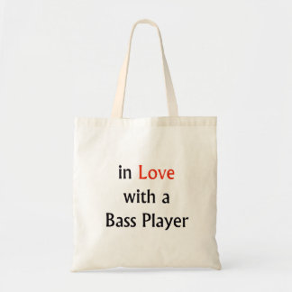 In Love With A Bass Player Red n Black Text Canvas Bags