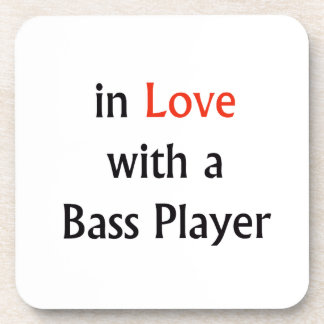 In Love With A Bass Player Red n Black Text Coaster