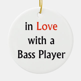 In Love With A Bass Player Red n Black Text Double-Sided Ceramic Round Christmas Ornament