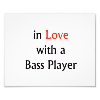 In Love With A Bass Player Red n Black Text Photo Print