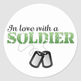 In love with a soldier classic round sticker