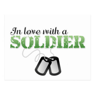 In love with a soldier postcard
