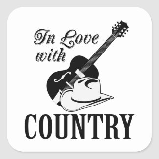 In love with country square sticker