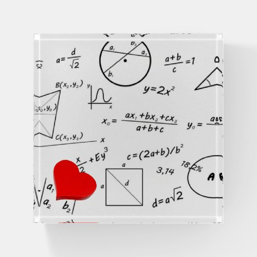 In love with math whiteboard paperweight