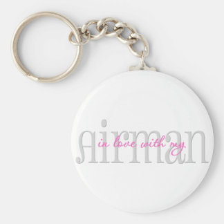 In Love With My Airman Basic Round Button Keychain