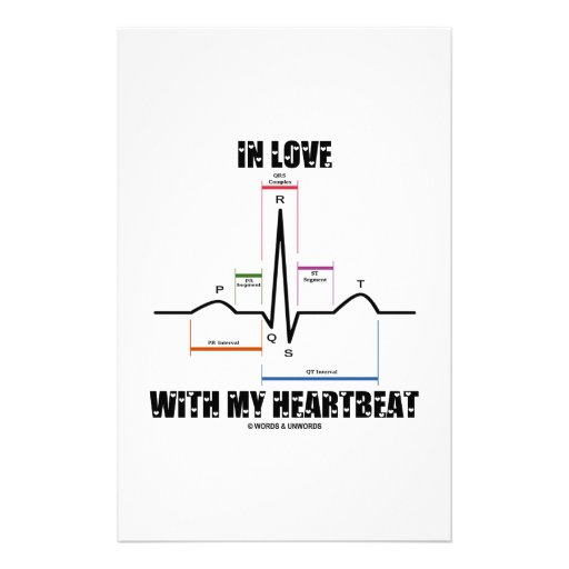 In Love With My Heartbeat (Electrocardiogram) Stationery Design
