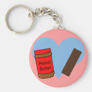 In love with Peanut Butter and Chocolate Basic Round Button Keychain
