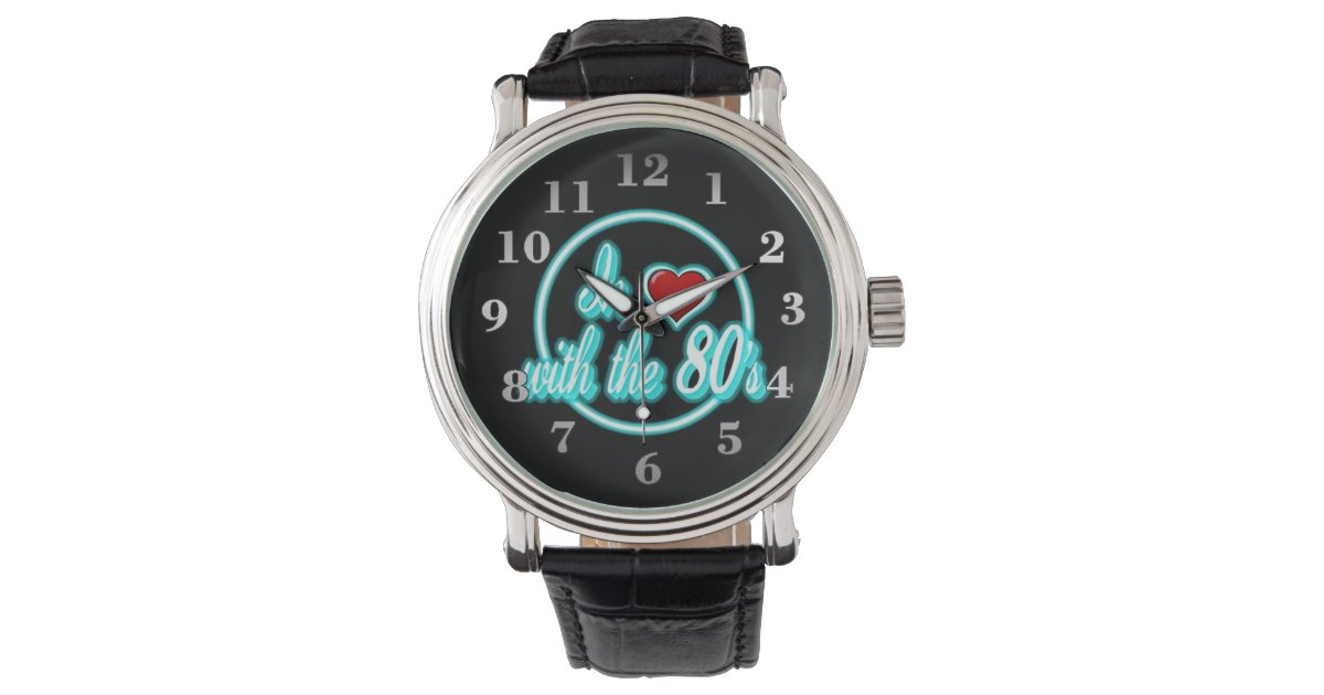 In Love With The 80's Retro Blue Neon Logo Watch | Zazzle