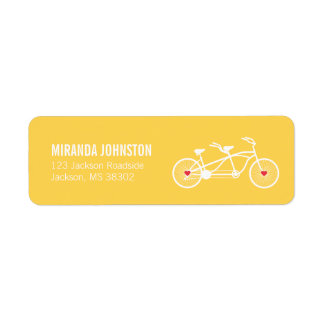 In love- Yellow Bicycle  Wedding Address Labels