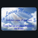 """In Loving Memorie of..Premium Flexi Magnet<br><div class=""""desc"""">Flexible magnet where you can add a love one or friends name to &quot; In Loving Memories. They may have left this earth but never from our heart.Beautiful blue sky with clouds and a ray of sunshine and a dove.</div>"""