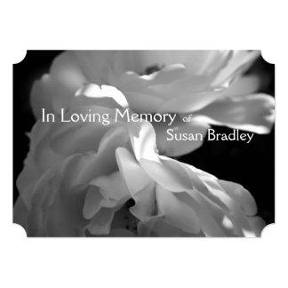 In Loving Memory -2- White Rose Memorial Service 5x7 Paper Invitation Card