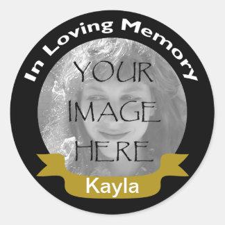 In Loving Memory Black Gold Photo Stickers