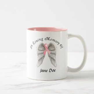 In Loving Memory Breast Cancer Customizable Mug. Two-Tone Coffee Mug