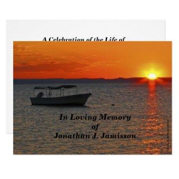 SocolikCardShop In Loving Memory Celebration of Life Fishing Boat Card