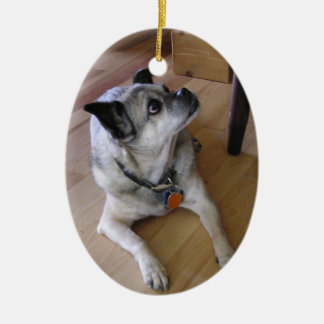 In Loving Memory (Chi) Double-Sided Oval Ceramic Christmas Ornament