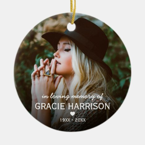 In Loving Memory | Christmas Keepsake 2 Photo Ceramic Ornament