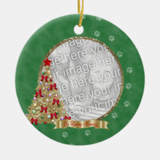 In Loving Memory Christmas Pawprint Photo Ornament