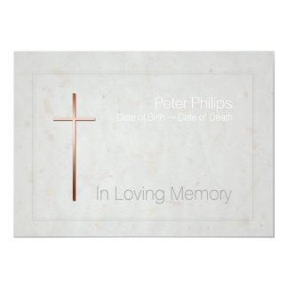 In Loving Memory Copper Cross Funeral Invitation 2  Invitation For Funeral