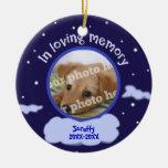 In Loving Memory Custom Photo Pet Memorial Double-Sided Ceramic Round Christmas Ornament