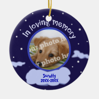 In Loving Memory Custom Photo Pet Memorial Double-Sided Ceramic Round Christmas Ornament