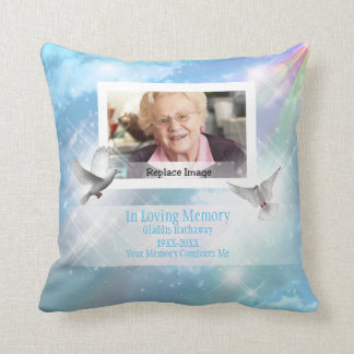 In Loving Memory Doves Sparkle Bereavment Memorial Throw Pillow