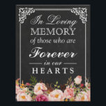 "In Loving Memory Floral Chalkboard Wedding Sign<br><div class=""desc"">================= ABOUT THIS DESIGN ================= In Loving Memory Floral Chalkboard Wedding Sign Poster Template. (1) The default size is 8.5 x 11 inches, you can change it to any size. (2) All text style, colors, sizes can be modified to fit your needs. (3) If you need any customization or matching...</div>"