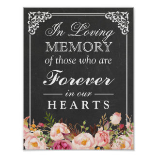 In Loving Memory Floral Chalkboard Wedding Sign