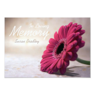 In Loving Memory - Floral Memorial Service 3.5x5 Paper Invitation Card