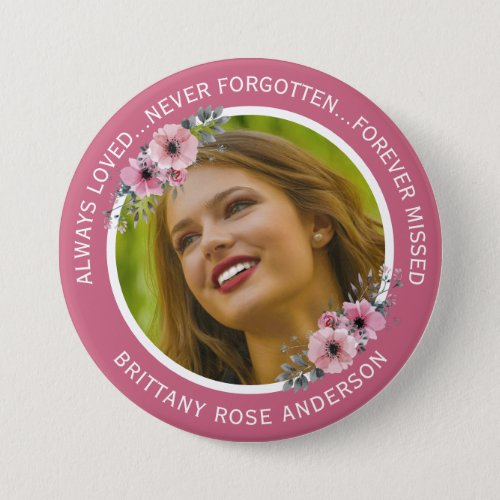 In Loving Memory Floral  Teal Photo Memorial Button