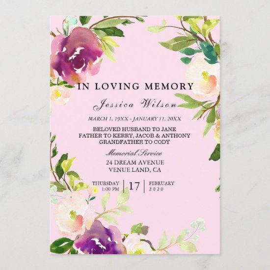 In loving memory funeral service inviation program