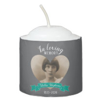 In loving memory heart teal ribbon photo candle