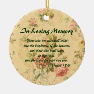 In Loving Memory Memorial Antique Rose Ornament