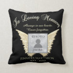"""In Loving Memory Memorial Throw Pillow<br><div class=""""desc"""">Customize this memorial gift featuring angel wings for someone you care about. Add a photo,  name,  dates and more.</div>"""