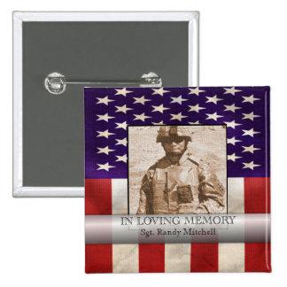In Loving Memory Military Custom Photo Tribute 2 Inch Square Button