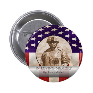 In Loving Memory Military Photo Personalized Pinback Buttons