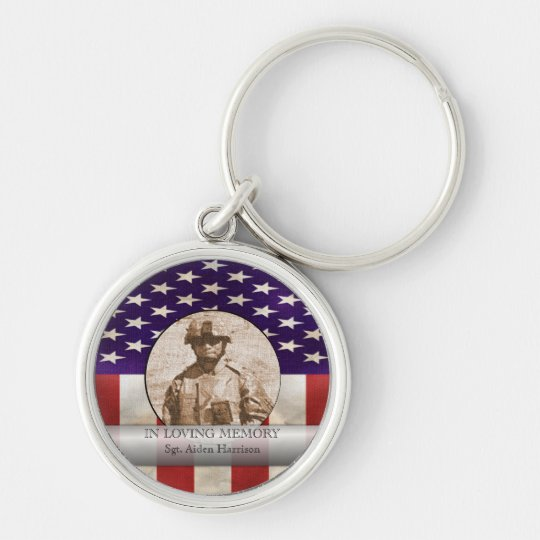 In Loving Memory Military Photo Personalized Keychain