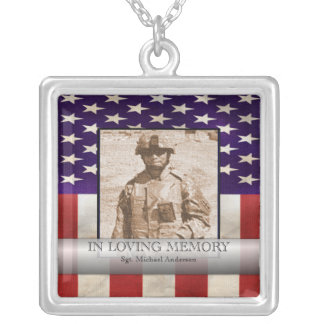 In Loving Memory Military Photo Personalized Square Pendant Necklace