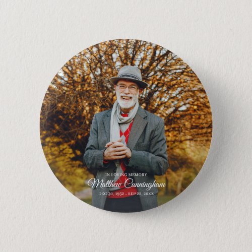 In Loving Memory  Modern Vignette Photo Keepsake Button